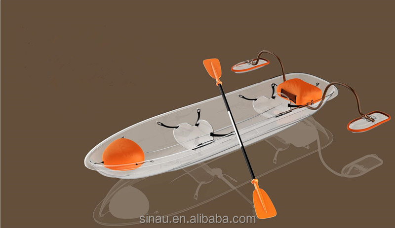 New design 2 seats transparent kayak/rowing boat for sale