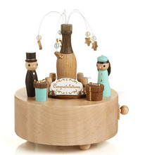 cheap wholesale simple round wooden music box for holiday gift