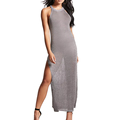 New Arrival Ladies' Metallic Open-Knit Sexy Split Side Maxi Cocktail Evening Dress with OEM Service