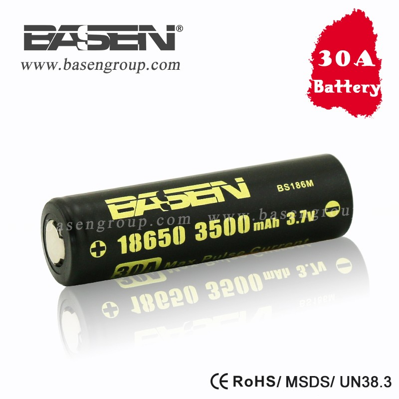 18650 3.7v cylindrical battery Basen hot 18650 3500mah 30a lithium ion battery for vape mod fit flashlight e-tools