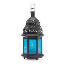 Great Patio Blue Glass Moroccan Style Metal Candle Lantern holder
