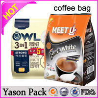 Yason hot side gusset plastic bag for coffee/ tea packaging side seal tear laminated aluminum foil mylar bags side gusset coffee