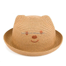 Cute straw hats summer baby ear decoration lovely children character girls boys sun hat