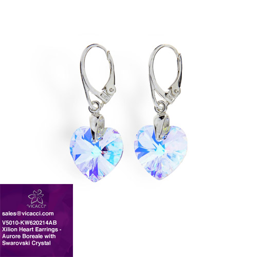 Alibaba Express 925 Fashionable Jewelry Classic Xilion Heart Drop Earrings with Crystals from SWAROVSKI