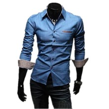 1pc hot sale cheap price fashion 35%cotton and 65% polyester men's denim shirts wholesale
