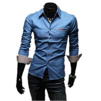 1pc hot sale high quality cheap price fashion 35%cotton and 65% polyester men's denim shirts wholesale