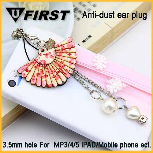 Wholesale 3.5mm Pink Flower Earphone Ear Cap Dock Dust Plug For iPhone Smartphone diamond