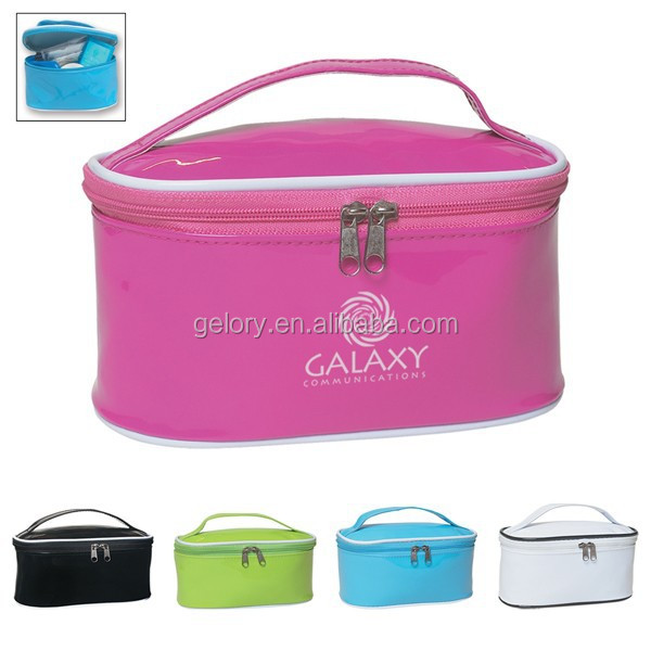 Patent Leather Travel Cosmetic Bag,Shiny PU Women makeup bag