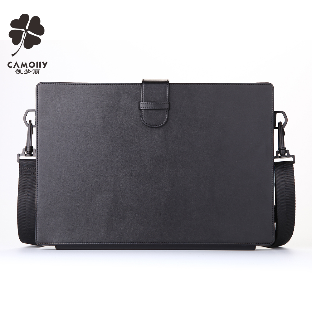 china supplier factory black leather tablet cover case for ipad air 1/2/3 for surface pro with shoulder belt and card window