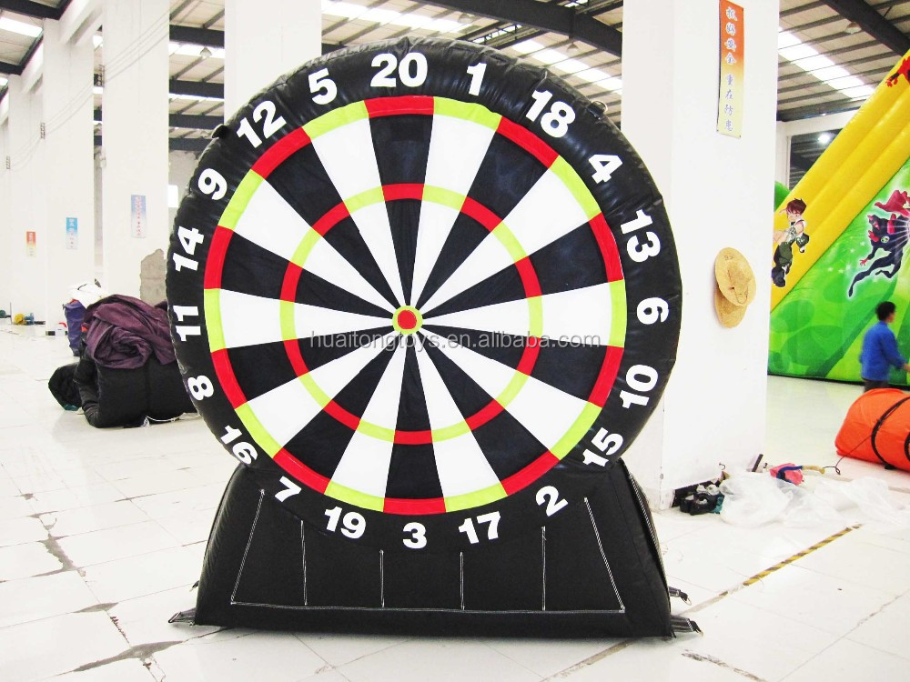 Multifunctional inflatable foot darts/velcro soccer darts board for sale
