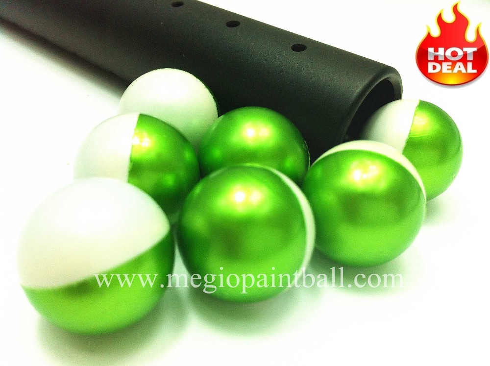 megio Advanced Grade Paintball Metallic Green White Dual color shell
