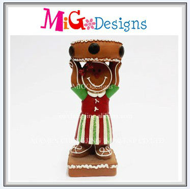 Handmade Manufacture Gingerbread Man Design Polyresin Candle Holder