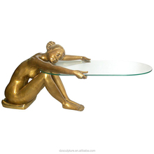 indoor metal home decoration bronze sexy girl table base sculpture