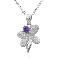 SJPS03334 Latest Design Mirco Pave Setting 925 Sterling Sliver White&Purple Cubic Zircon Butterfly Pendant for Women