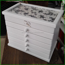Wholesale Customized White Painted Wooden Jewellery Packging Box with Drawers