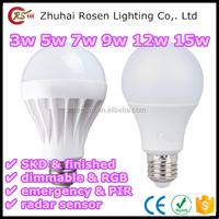 china factory 2700-6500K 3w 5w 7w 9w 12w 15w 220 volt LED bulb light with plastic body