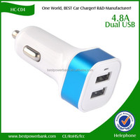 HC-C04 Bullet shape dual 2-port mini usb car charger adaptor 5V/4.8A
