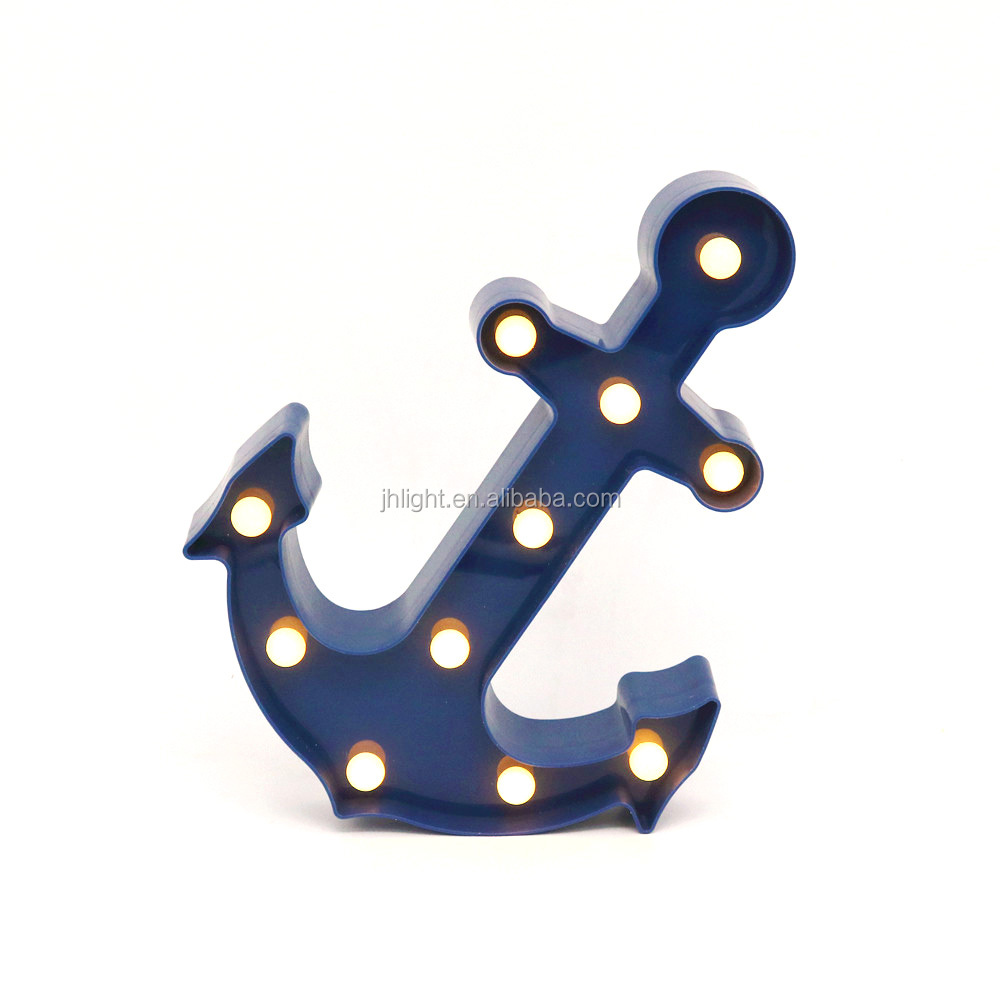 Marquee LED Lighted Anchor Sign Wall Decor - Battery Operated Baby Sleeping Sign 11 warm white light - Nursery Anchor Decor Blue