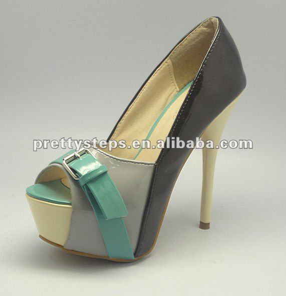 Pretty Steps 2014 Guangzhou wholesale cheap fashion PU 8cm thin heels 3cm platform royal high heels dress fashion shoes