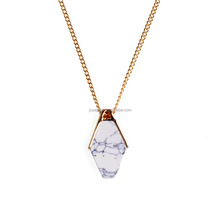 White Howlite Gold Plated Natural Stone Geometric Charm Pendant <strong>Necklace</strong>