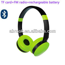 Colorful wireless headphone,memory card headphone with built in lithium battery and FM radio