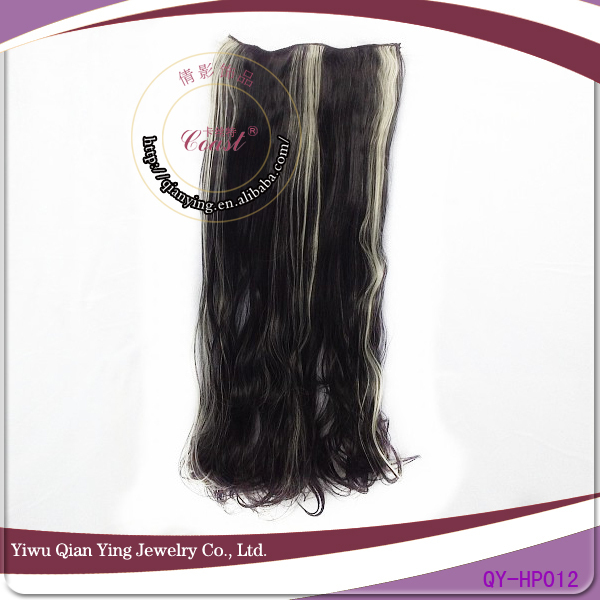 natural easy curly black clips hair extensions with white highlight