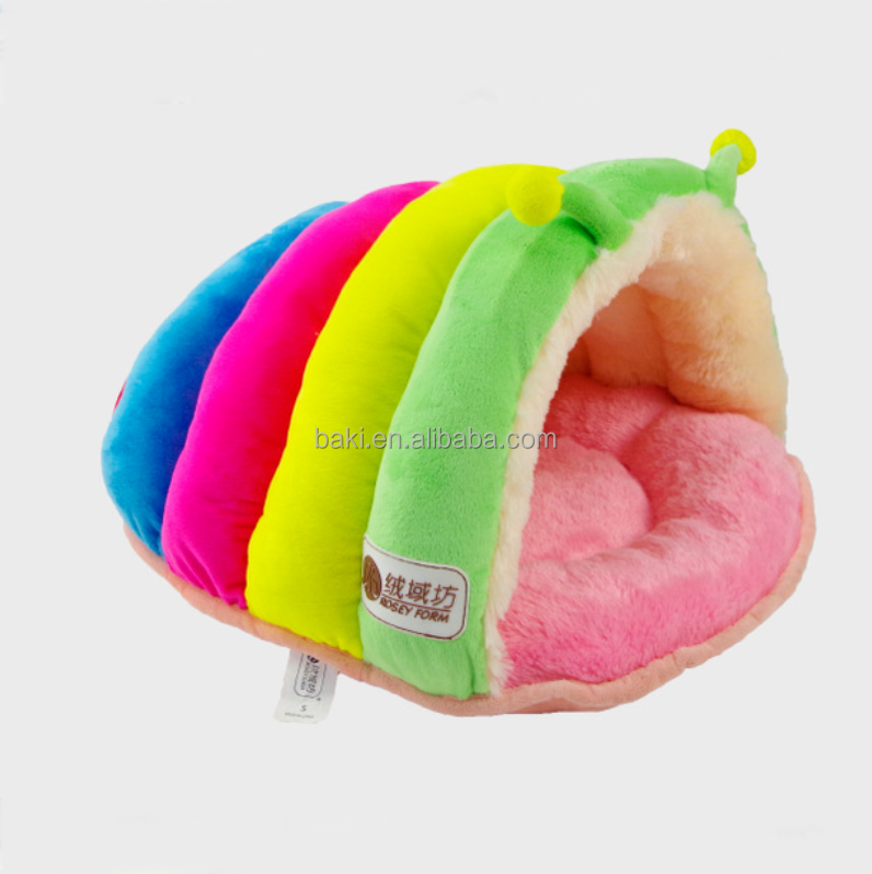 New lovely high quality rainbow color soft plush animal shaped pet bed