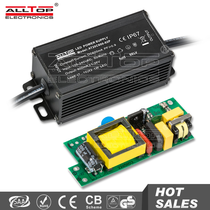 Waterproof constant current power supply 600mA 36v 20w led driver