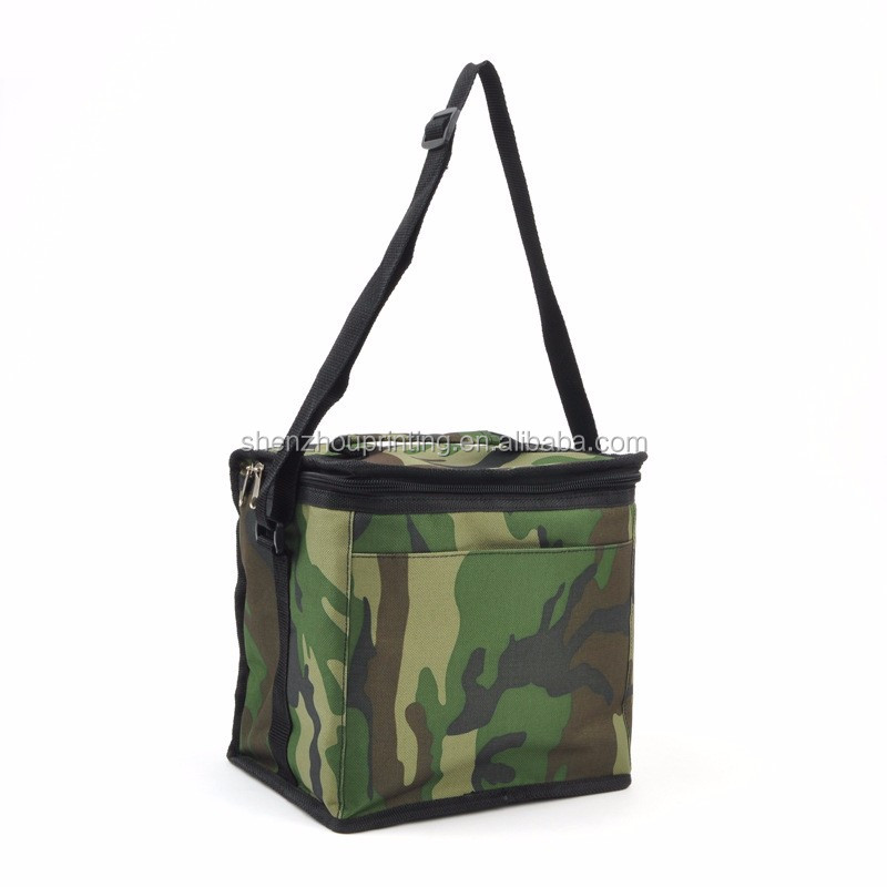 Cheap price high quality outdoor travel durable thermal insulated polyester foldable six pack shoulder camouflage cooler bag