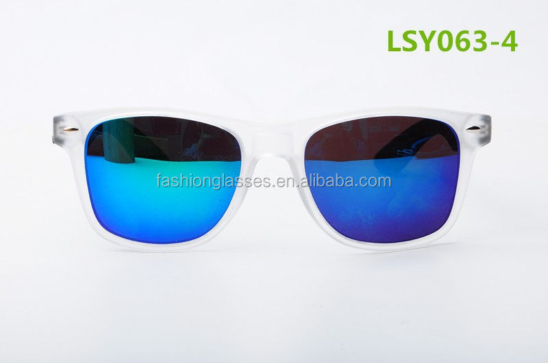 2015 popular sunglasses with high quality spring hinges blue mirror polarized lens bamboo temples
