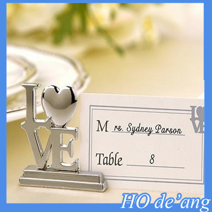 Hogift wedding supplies wholesale creative stainless steel wedding seat card folder wedding table cards clip MHo-138
