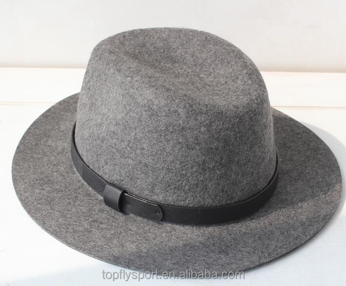 Grey wool felt Fedora hat with strape for men and women .custom logo band , winter hat .