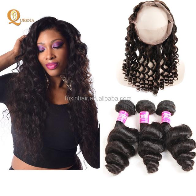 8A Mink Brazilian Hair Unprocessed Hair Weave Atlanta Bundles with 360 Frontal Loose Wave