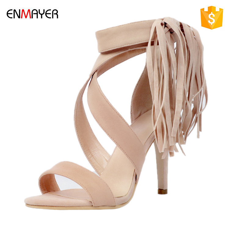 news nude suede lace up tassels open toe fancy high heel 10.5cm women sandas made in china latest high heel ladies shoes