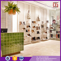 China Factory Wood Retail Shoes Rack Display Shop Decoration Ideas