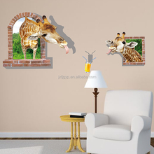 Removable custom hot sales creative PVC bedroom warm home baby house 3D funny giraffe animal wall sticker
