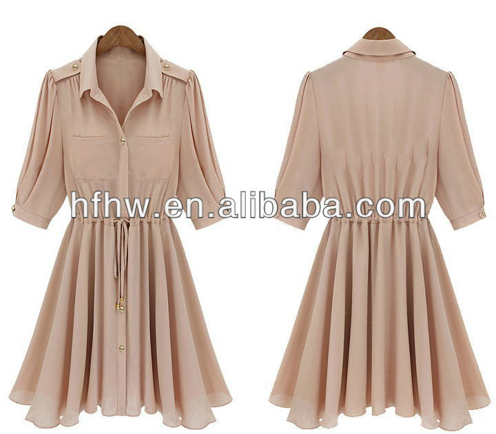 The new women's summer 2013 brand in the sleeve vintage gold buckle chiffon dress