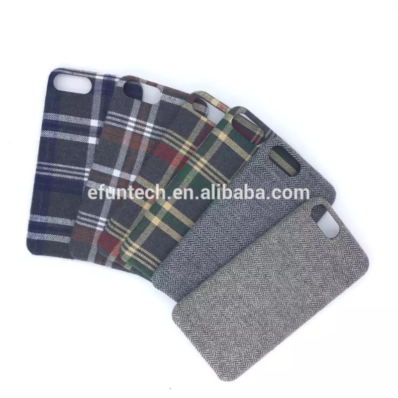 Free sample high quality tartan check fabric mobile phone shell for iphone 7 7 plus case cover