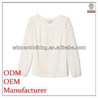 Ladies fashion factory direct manufacturer modern design popular bubble sleeve white lace blouse