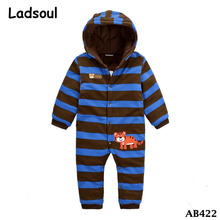 2017 New Winter Cute Baby 100% Cotton Cartoon Keep Warm Baby Romper