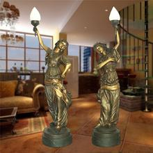 Life size hot brass antique statue lamp