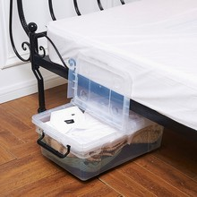 Living room transparent multipurpose storage box with lid and wheels