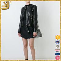 Custom factory directly leisure style winter motorcycle women fashion leather jacket