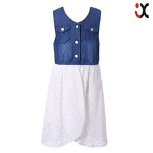 sleeveless denim dress lace pictures of girls cotton tops latest jeans tops girls kids denim jeans girls JXQ1124