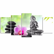 Modern Art Buddha Painting/Spa Stone Zen Art/Wall Decorations Orchid Canvas Print
