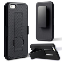 Cool Black Color Holster With Stand Combo Rubber Cover Case For iPhone 6 6S Instock