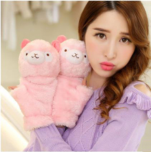 Winter cartoon cute plush thick clamshell half finger gloves warm gloves mitts Ms.