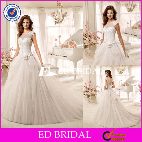 CE1316 Latest Design Scoop Neck A-Line Lace Flower Japanese Style Wedding Dresses