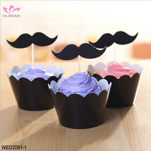 Black Red Mustache Wedding Decoration Tool Cake Topper