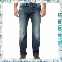 New Model 2015 Straight Damaged Patchwork Stitch Denim Urban Style Man Jeans